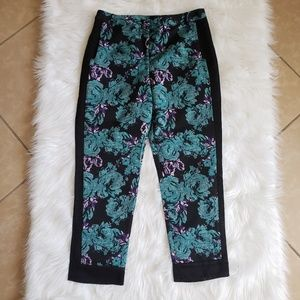 Topshop Navy with Purple and Teal Floral Pants 8
